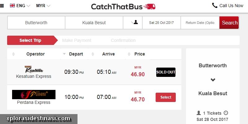 Paparan harga tiket bas express jika ada beli tiket bas balik kampung secara online