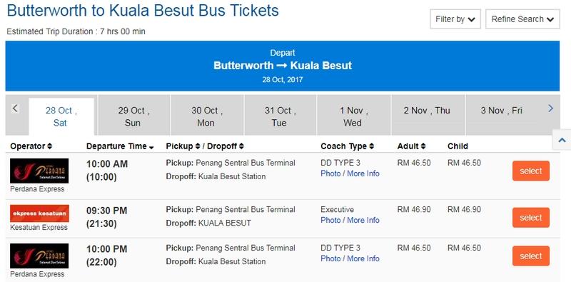 Paparan jenis bas, tarikh dan juga harga tiket bas yang dikenakan