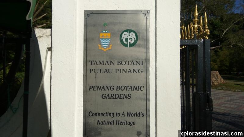 Plat pintu masuk Penang Botanic Gardens